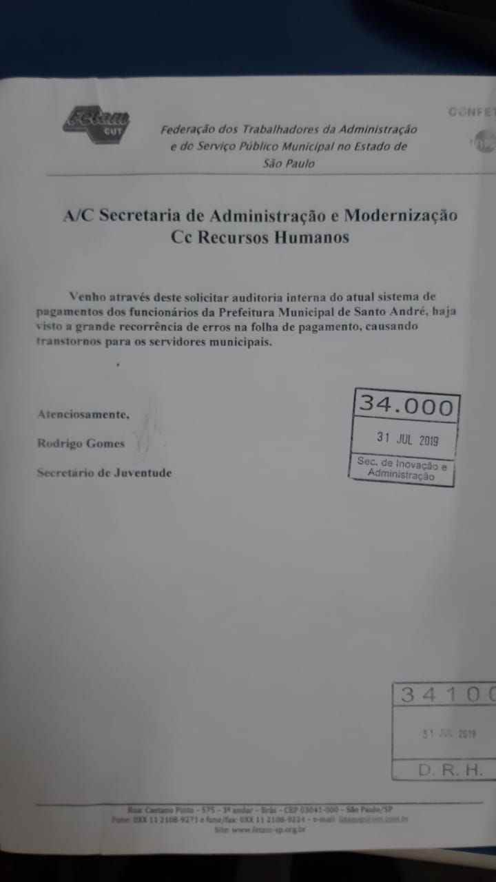 Imagem de Sindserv Santo André solicita à Administração auditoria nos pagamentos dos servidores andreenses