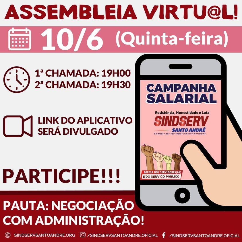 Imagem de Assembleia Virtual da Campanha Salarial acontece nesta quinta-feira (10)