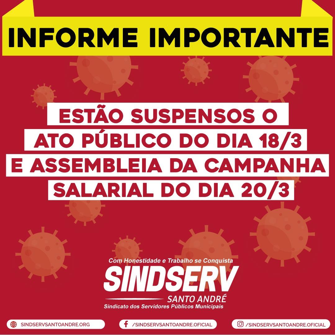 Imagem de Coronavírus: Sindserv Santo André cancela Ato e Assembleia do dia 20/3