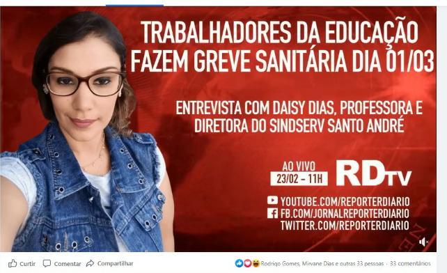 Imagem de Em entrevista ao Repórter Diário, diretora do Sindserv explica motivos da Greve Sanitária da Educação