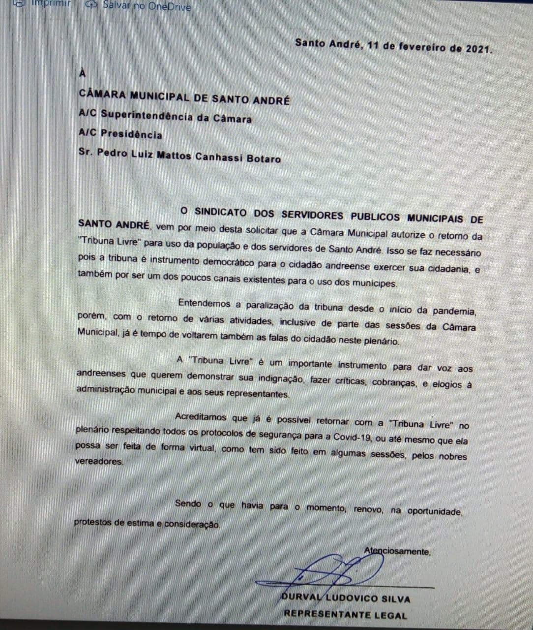 Imagem de Câmara Municipal: Sindserv Santo André pede retorno da Tribuna Livre