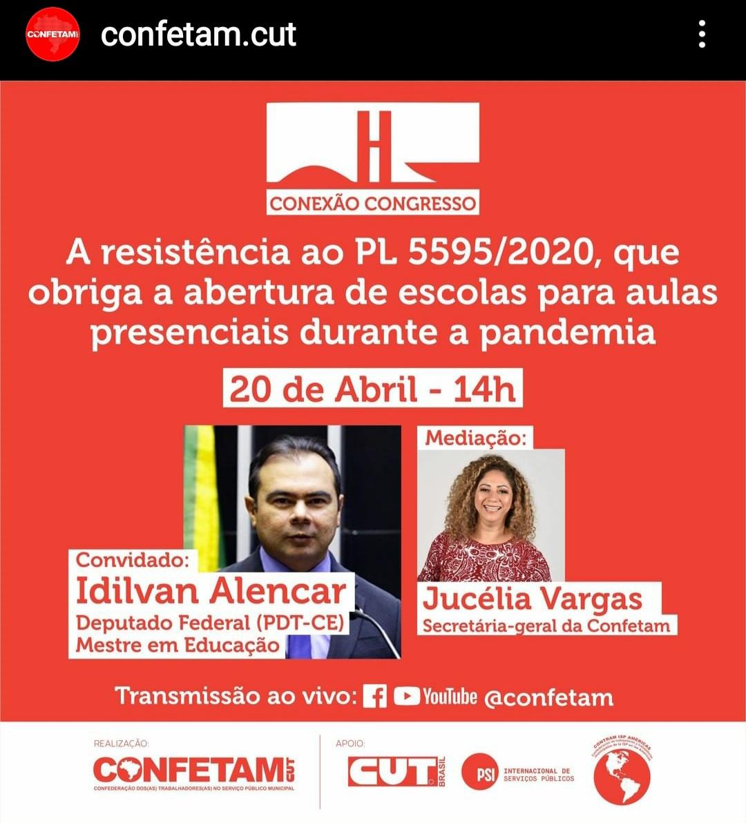 Imagem de Live da CONFETAM debate resistência ao PL que autoriza aulas presenciais na pandemia