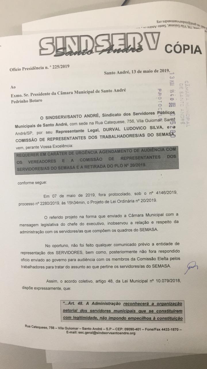 Imagem de Não à entrega do Semasa: Sindserv Santo André protocola requerimentos à Câmara e o Prefeito exigindo retirada do PL20/2019