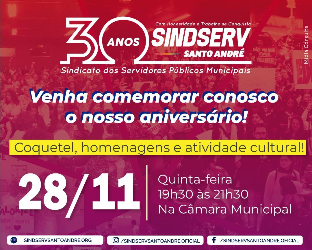 Imagem de Câmara Municipal presta homenagem aos 30 anos do Sindserv Santo André