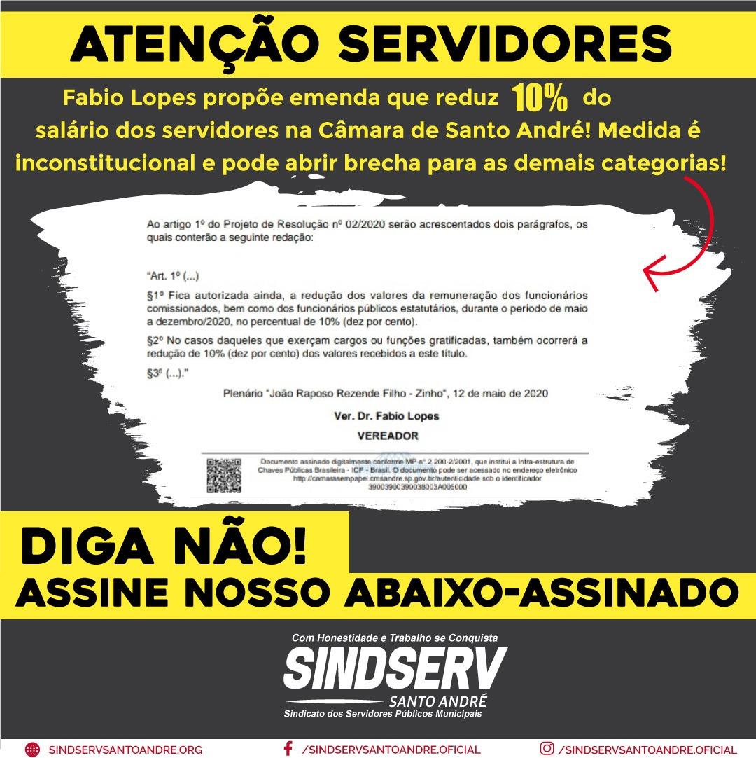 Imagem de Sindicato divulga abaixo-assinado online contra emenda de Fábio Lopes que prevê redução no salário dos servidores da Câmara