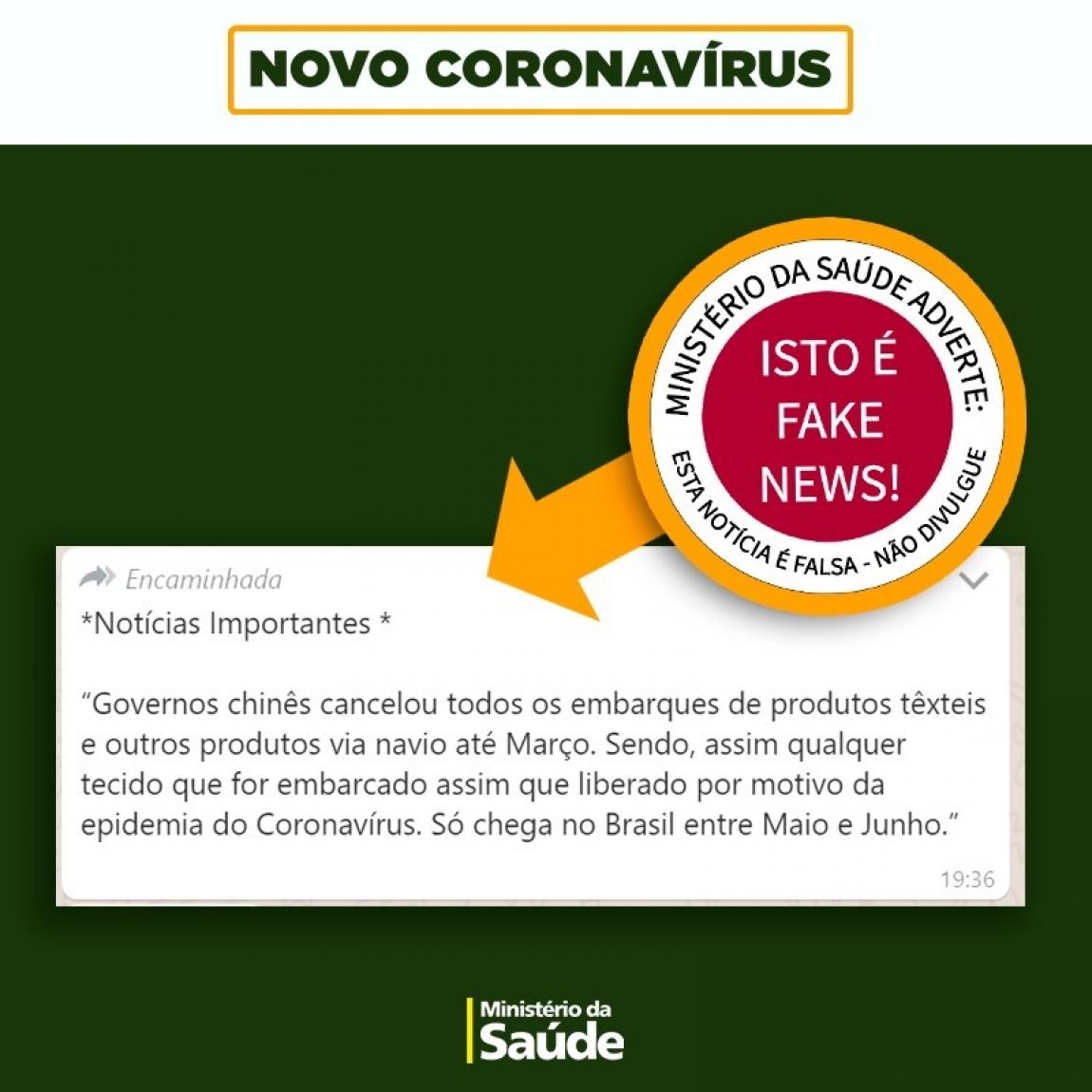 Imagem de Fake news atingem 85% das mensagens sobre coronavírus checadas pelo Ministério da Saúde