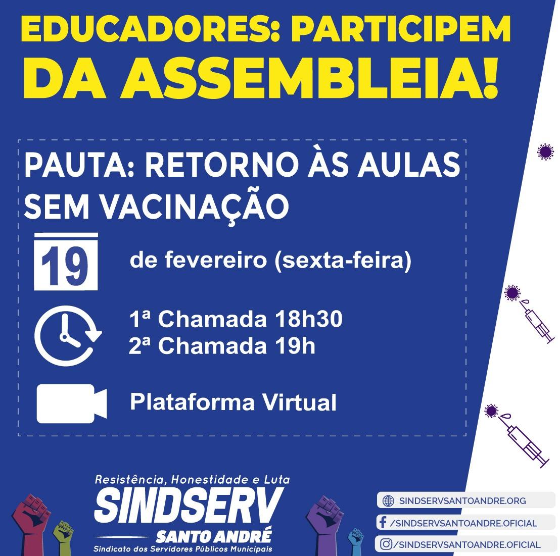 Imagem de É dia 19: Professores e educadores decidirão em assembleia do Sindserv Santo André sobre retorno das aulas na cidade