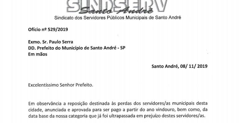 Imagem de Sindserv Santo André solicita à Prefeitura e a Câmara abono de Natal para todos os servidores